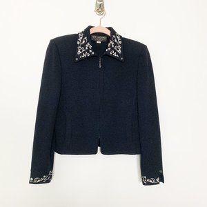 St. John Embroidered Collared Zip Blazer 2 #4253